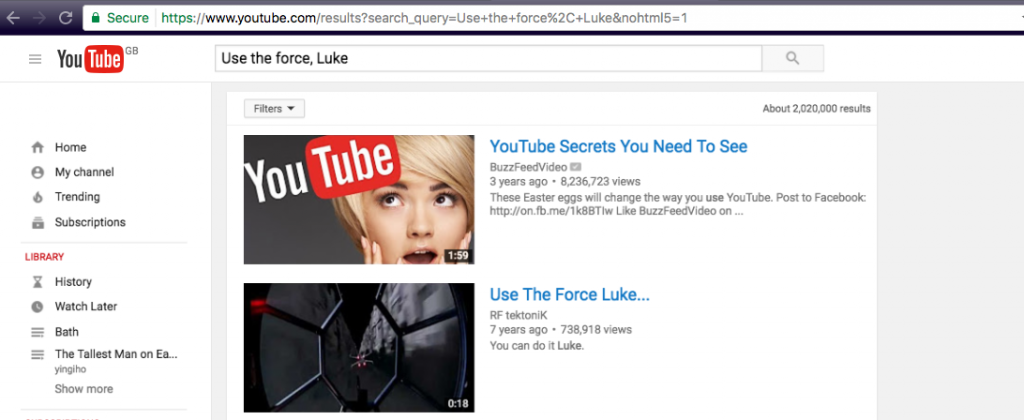 YouTube easter egg- Use the force, Luke