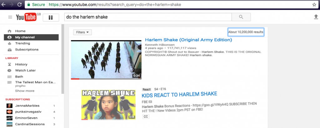 YouTube easter egg- do the Harlem shake