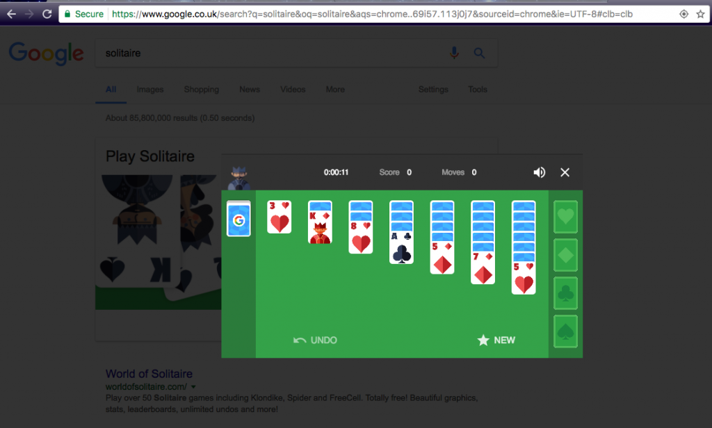 Search 'Solitaire' to play the game via Google