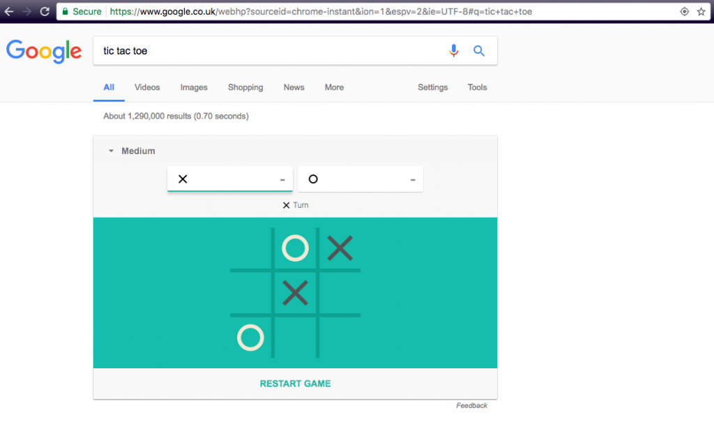 Search Google for 'Tic Tac Toe' to play